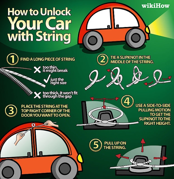 Unlock car with string
