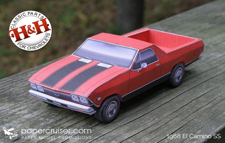 Build Your Own 1968 El Camino Ss 396 Paper Model