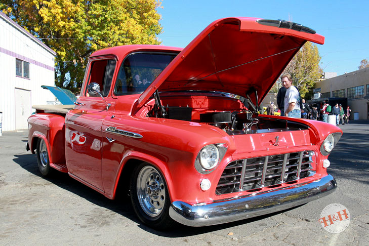 Sporty red stepside classic Chevrolet pickup