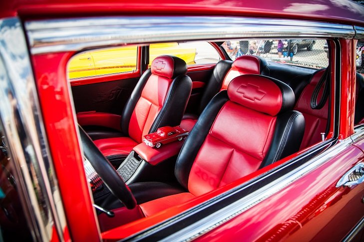 red and black Chevy interior