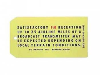 Jim Osborn Reproductions - Radio Reception Instruction Tag - Image 1
