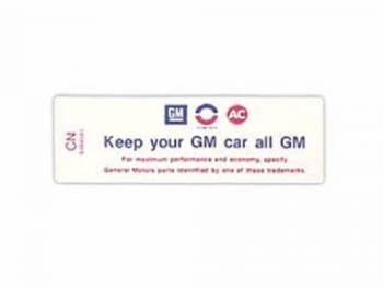 Jim Osborn Reproductions - Air Cleaner Decal (Keep Your GM all GM) - Image 1