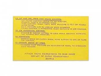 Jim Osborn Reproductions - Cruise Control Instruction Decal - Image 1