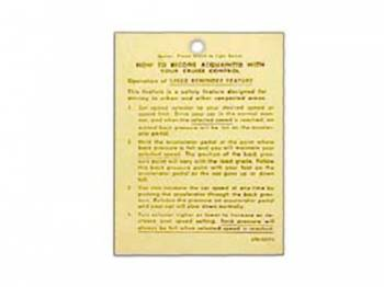 Jim Osborn Reproductions - Cruise Control Instruction Tag - Image 1