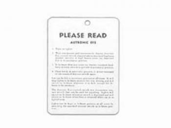 Jim Osborn Reproductions - Autoronic Eye Instruction Tag - Image 1
