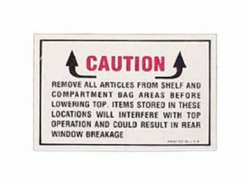 Jim Osborn Reproductions - Convertible Top Warning Decal - Image 1