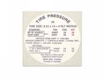 Jim Osborn Reproductions - Glove Box Tire Pressure Decal - Image 1
