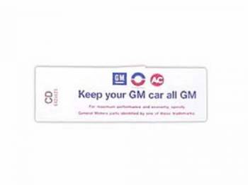 Jim Osborn Reproductions - Keep Your GM all GM Decal - Image 1