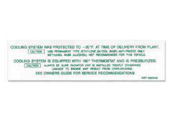 Jim Osborn Reproductions - Cooling System Warning Decal - Image 1