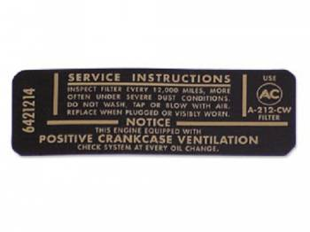 Jim Osborn Reproductions - Air Cleaner Service Decal - Image 1