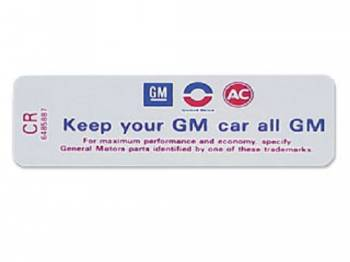 Jim Osborn Reproductions - Keep Your GM all GM Air Cleaner Decal - Image 1