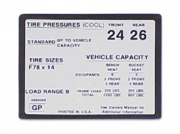 Jim Osborn Reproductions - Tire Pressure Decal - Image 1