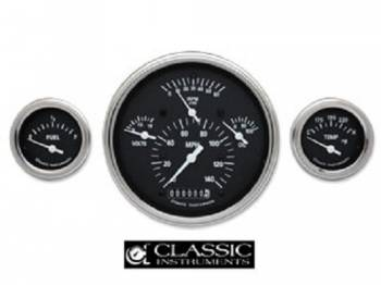 Classic Instruments - Classic Instruments Gauge Kit with FLat Glass (Black with White Letters)