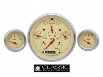 Classic Instruments - Classic Instruments Gauge Kit with FLat Glass (Gray with Red/White Letters)