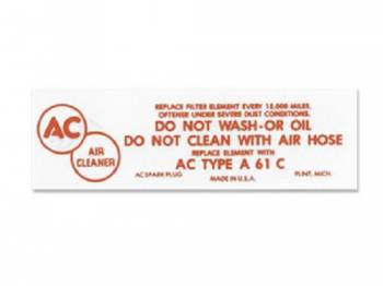Jim Osborn Reproductions - Air Cleaner Decal - Image 1