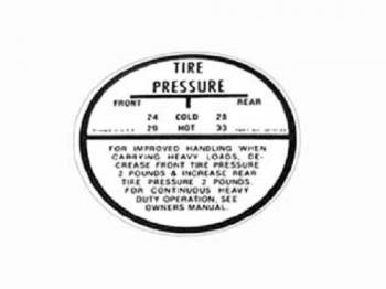 Jim Osborn Reproductions - Tire Pressure Decal