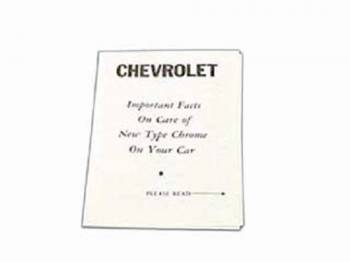 Jim Osborn Reproductions - Chrome Car Instruction Folder - Image 1