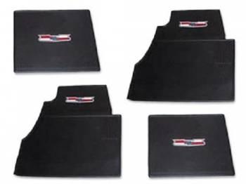 DKM Manufacturing - Rubber Floor Mats with Crest Emblem Black (4 pcs) - Image 1