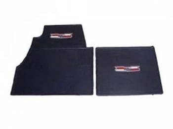 DKM Manufacturing - Rubber Floor Mats with Crest Emblem Blue (4 pcs) - Image 1