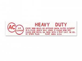 Jim Osborn Reproductions - Air Cleaner Service Instrumentruction Decal - Image 1
