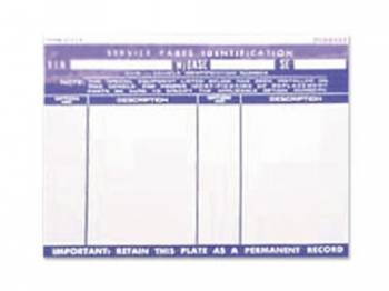 Jim Osborn Reproductions - Service Parts Glove Box ID Decal - Image 1