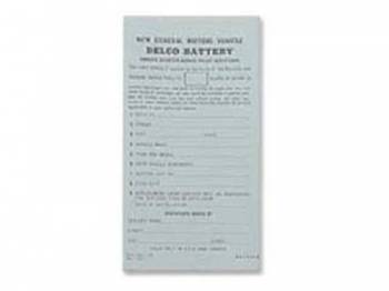 Jim Osborn Reproductions - Delco Battery Owners Card - Image 1