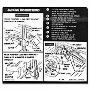 Classic Impala Parts Online Catalog - Decals - Jack Instruction Decals
