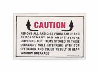 Classic Impala Parts Online Catalog - Jim Osborn Reproductions - Convertible Top Warning Decal