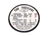 Decals - Interior Decals - Jim Osborn Reproductions - Glove Box Tire Pressure Decal