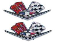 Emblems - Impala, Belair, & Biscayne Fender Emblems - H&H Classic Parts - Front Fender X-Flag Emblem
