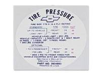Decals - Interior Decals - Jim Osborn Reproductions - Tire Pressure Decal