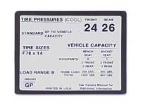 Decals - Interior Decals - Jim Osborn Reproductions - Tire Pressure Decal
