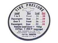 Decals & Stickers - Interior Decals - Jim Osborn Reproductions - Tire Pressure Decal