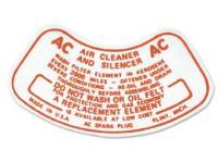 Decals - Air Cleaner Decals - Jim Osborn Reproductions - Air Cleaner Decal
